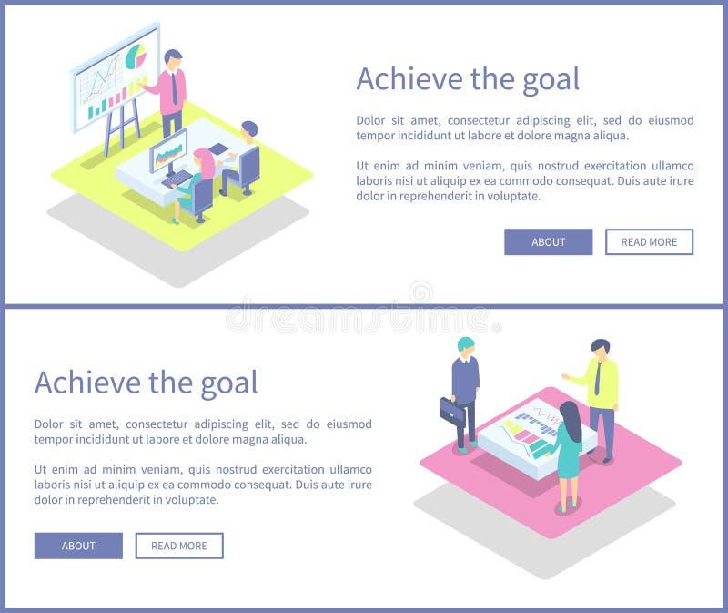 Consiga a ilustração do vetor do grupo da apresentação do objetivo ilustração stock