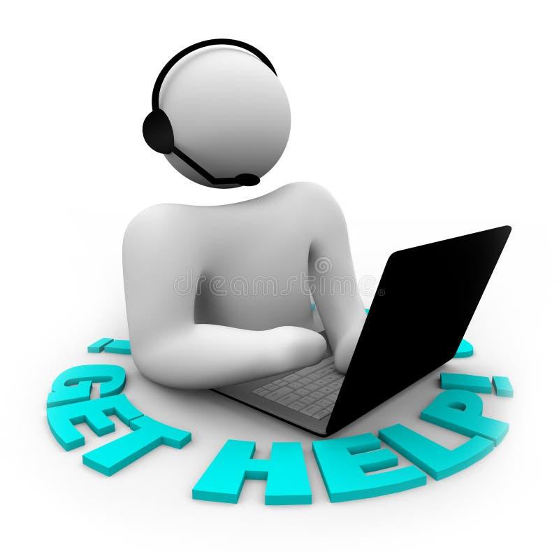 Consiga la ayuda - persona de la atención al cliente ilustración del vector