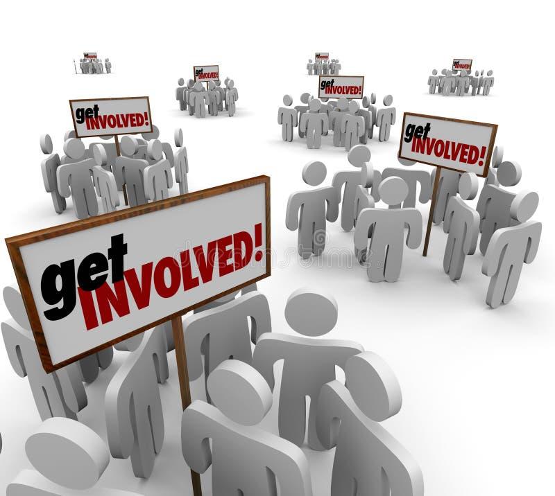 Consiga a la gente implicada participan grupo Mee de la interacción del compromiso ilustración del vector