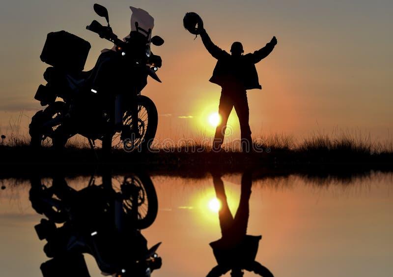 Consiga lejos en moto y haga el viaje pacífico imagen de archivo