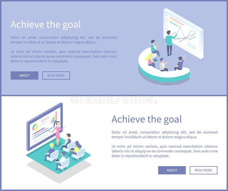 Consiga o objetivo que apresenta a ilustração do vetor de dados ilustração stock