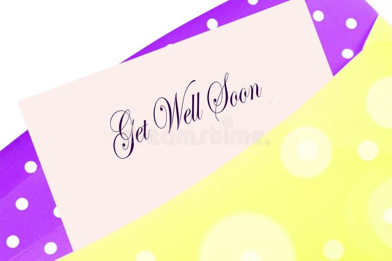 Consiga pronto la tarjeta bien ilustración del vector