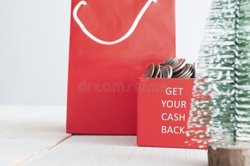 Consiga su devolución de efectivo de la Navidad imágenes de archivo libres de regalías
