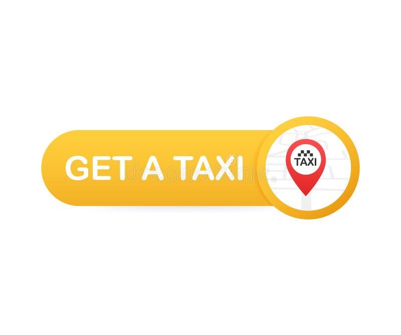 Consiga un taxi Bandera del taxi Ejemplo horizontal de la aplicación móvil del orden del servicio en línea del taxi Ilustración d ilustración del vector