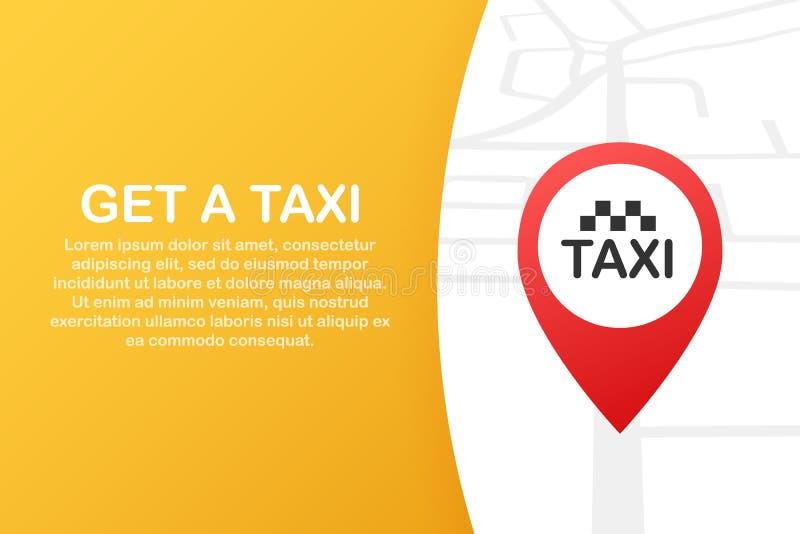 Consiga un taxi Bandera del taxi Ejemplo horizontal de la aplicación móvil del orden del servicio en línea del taxi Ilustración d libre illustration