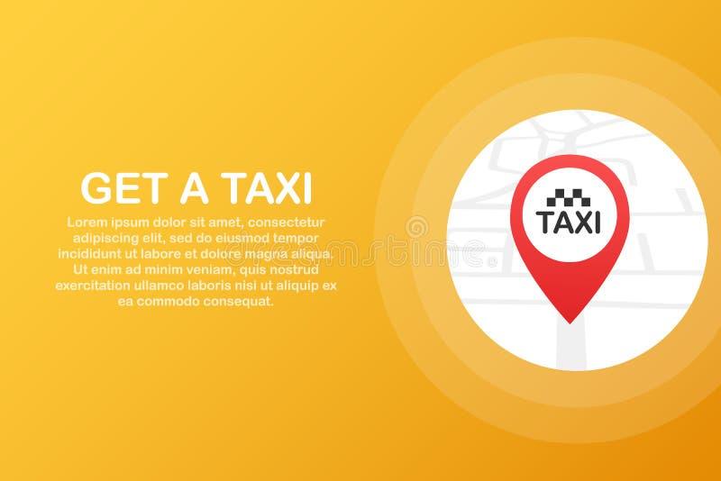 Consiga un taxi Bandera del taxi Ejemplo horizontal de la aplicación móvil del orden del servicio en línea del taxi Ilustración d stock de ilustración