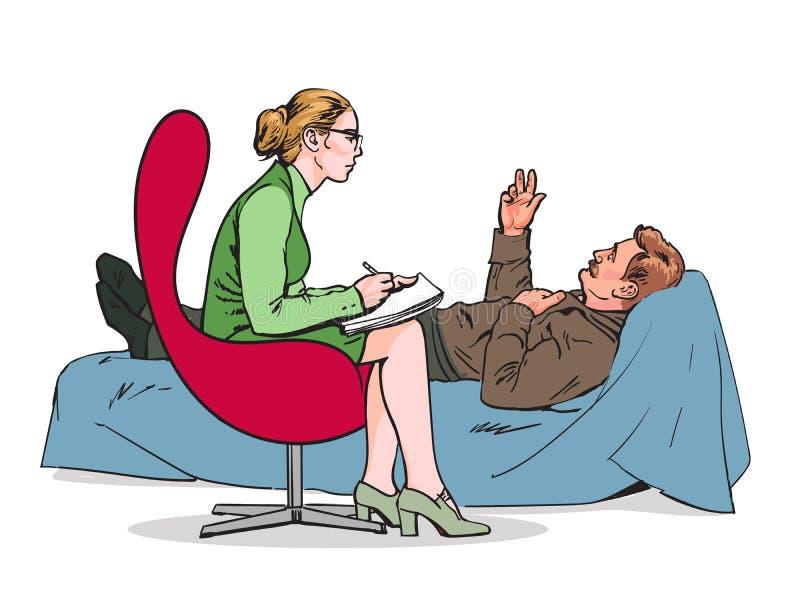 Consiglio ed assistenza di un problema di Patients dello psicologo illustrazione di stock