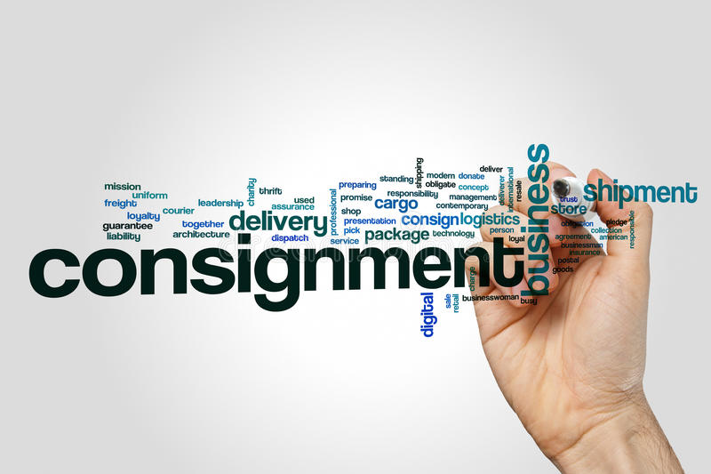 Consignment word cloud. Concept on grey background stock photos