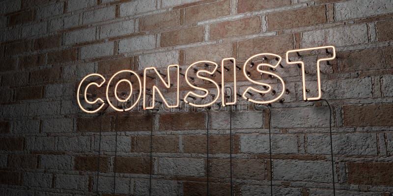 CONSISTA - Sinal de néon de incandescência na parede da alvenaria - 3D rendeu a ilustração conservada em estoque livre dos direit ilustração royalty free