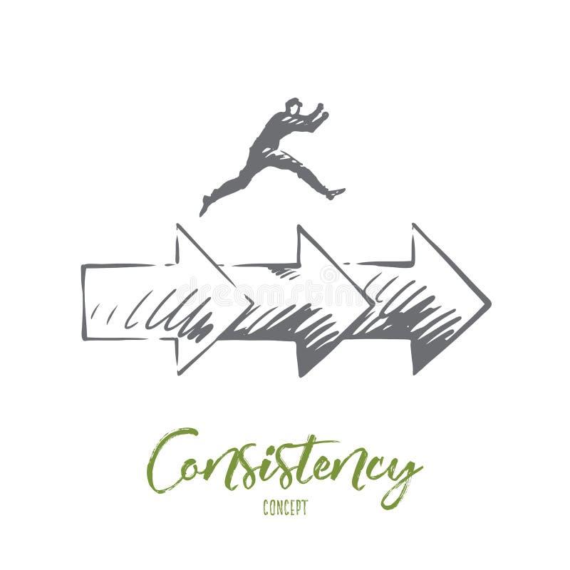 Consistencia, negocio, flecha, concepto del éxito Vector aislado dibujado mano libre illustration
