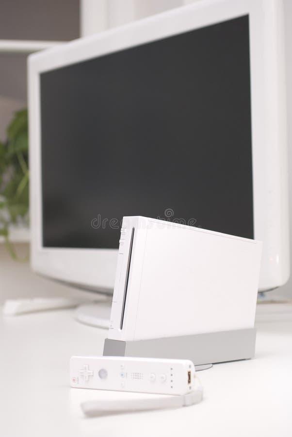 Consola blanca del juego fotografía de archivo libre de regalías