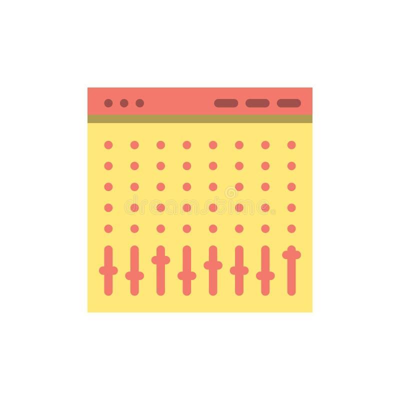 Consola, control, regulador, hardware, icono plano del color del mezclador Plantilla de la bandera del icono del vector libre illustration
