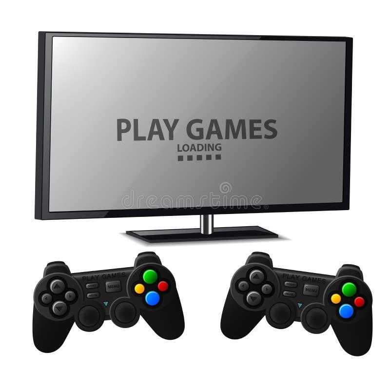 Consola de los juegos del juego con la palanca de mando dos ilustración del vector