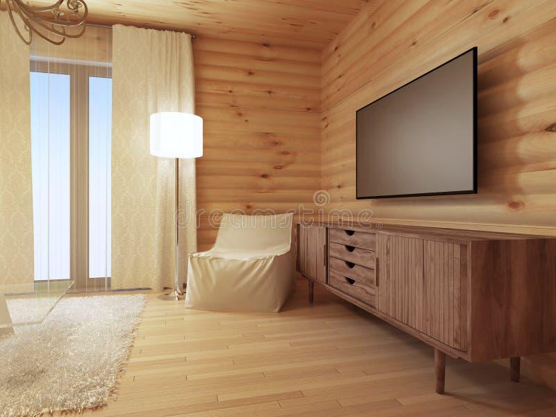 Consola de madera de la TV con una butaca blanca cómoda y un la del piso ilustración del vector