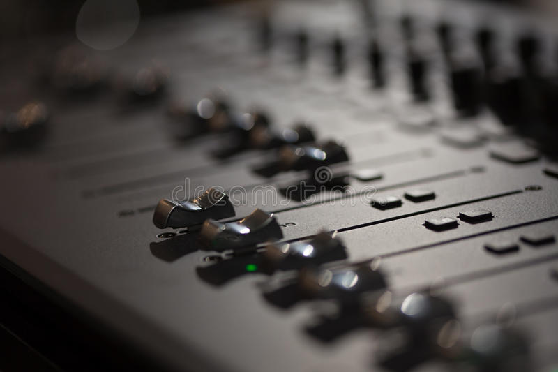 Consola de mezcla audio foto de archivo