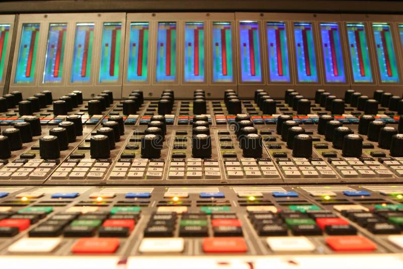 Consola de mezcla de la banda de sonido de la película fotos de archivo libres de regalías