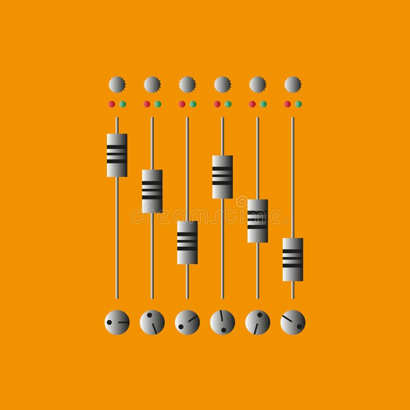 Consola de mezcla sana Ilustración del vector Música del disco y de la mezcla stock de ilustración