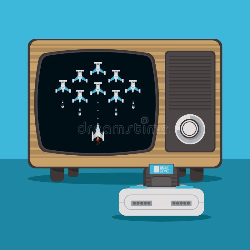 Consola del videojuego y TV libre illustration