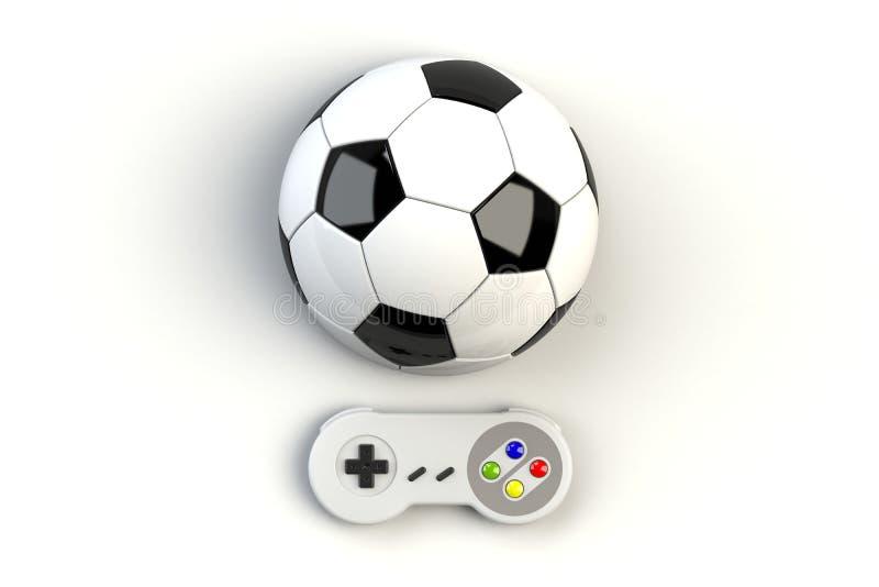 Consola GamePad del videojuego Concepto del juego Palanca de mando retra de la visión superior con el balón de fútbol aislado ilustración del vector
