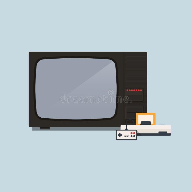Consola retra del videojuego y ejemplo del vector de la TV stock de ilustración