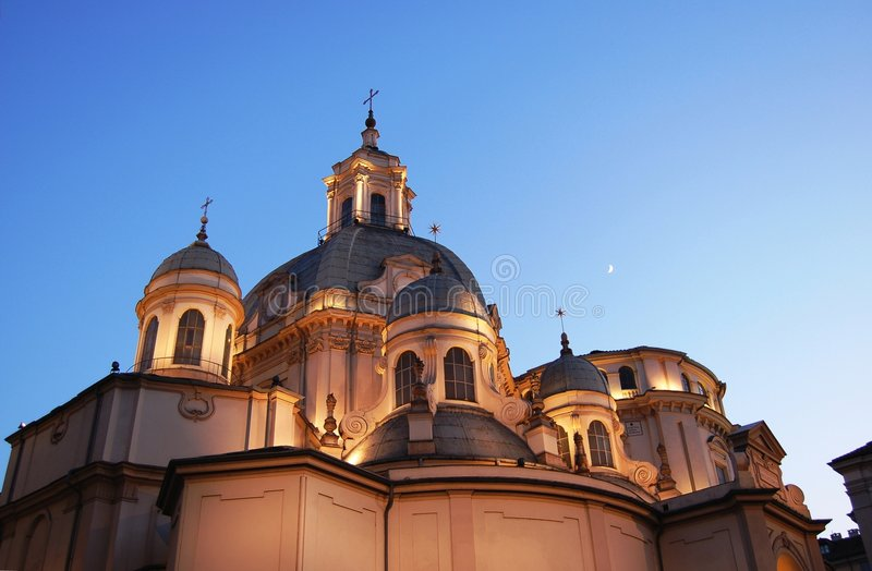 Consolata baroque church domes stock photography