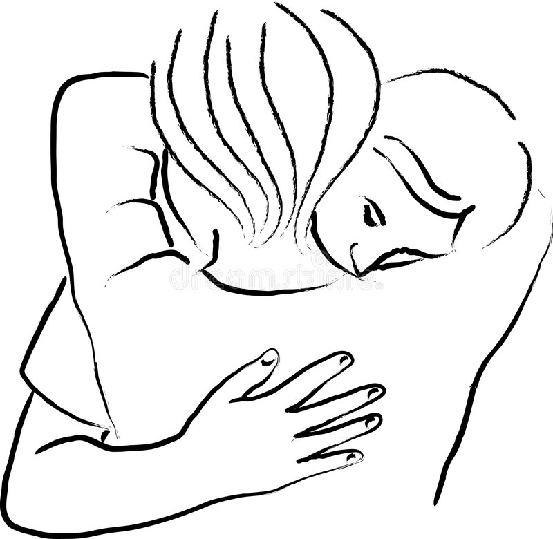 Consolation Hug. Illustration of two people embracing in a manner which suggests consolation