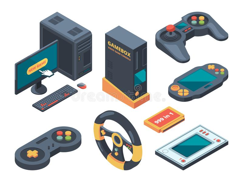 Console and computer systems and gadgets for gamers. Computer and gadget controller, console play, control game device. Vector illustration royalty free illustration
