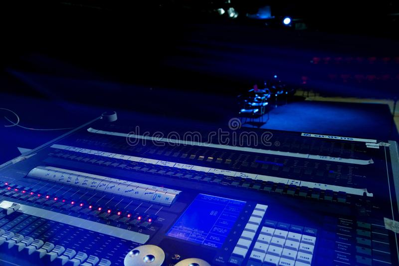 Console, control, music, sound, audio, panel, technology, equipment, device, hand, mixer, professional, performance, electronic,. Sound light control device For royalty free stock photography