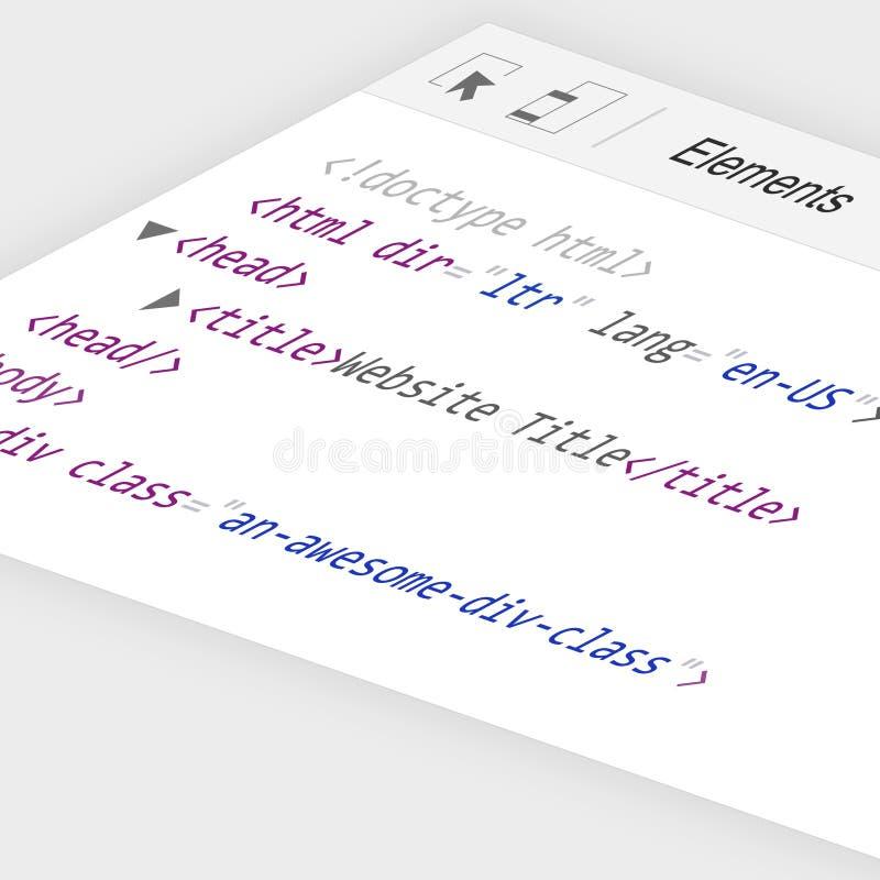 console d'inspecteur de code du site Web 3D inspectant des éléments de site Web avec le code de HTML images stock