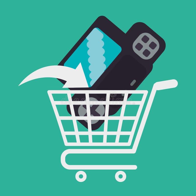 Console de chariot de jeu sur Internet d'achats illustration stock