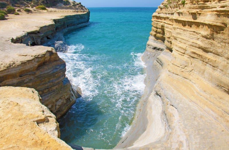 Console de Corfu, Greece O canal do amor, caso amoroso do ` do canal d no Sida foto de stock
