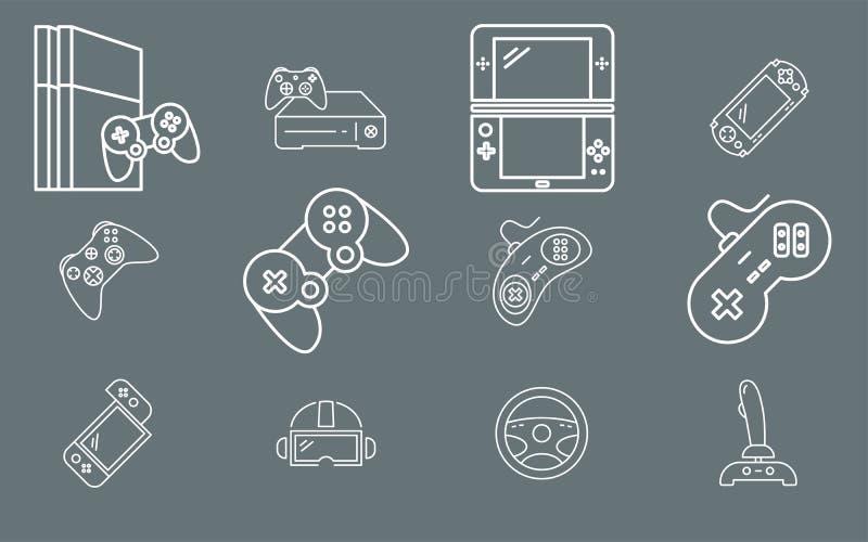Console de Gamepad e de jogo - esboço do vetor do grupo dos ícones para a Web ou o móbil 01 ilustração do vetor