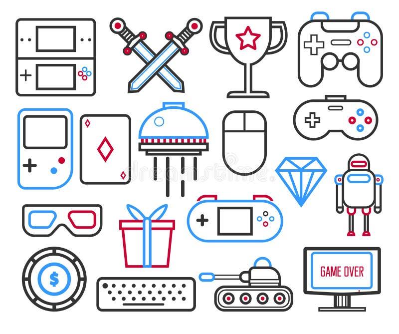 Console de jeux vidéo avec manettes de joystick et jouets icônes linéaires illustration libre de droits