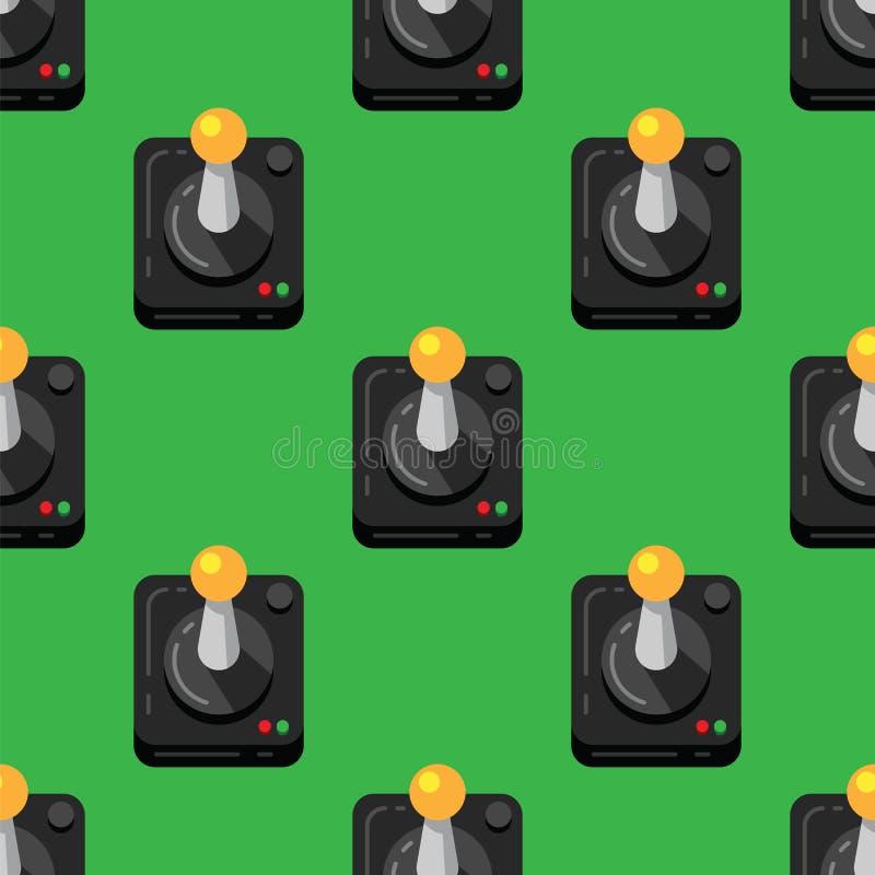 Console de manette de jeu sur le fond vert, rétro style, modèle sans couture Contrôleurs de jeu vidéo de fond de modèle illustration libre de droits