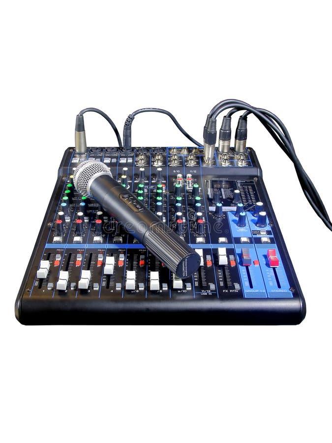 Console de mistura com os microfones sem fio isolados imagem de stock