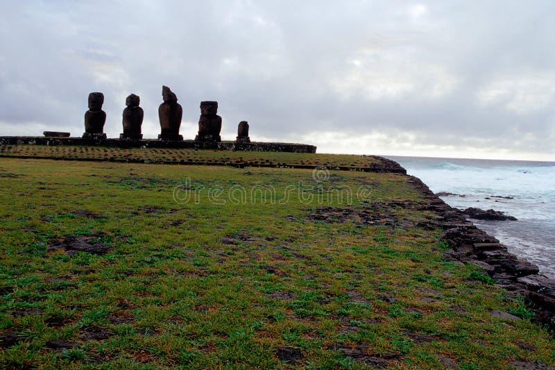 Console de Moai- Easter, o Chile fotografia de stock