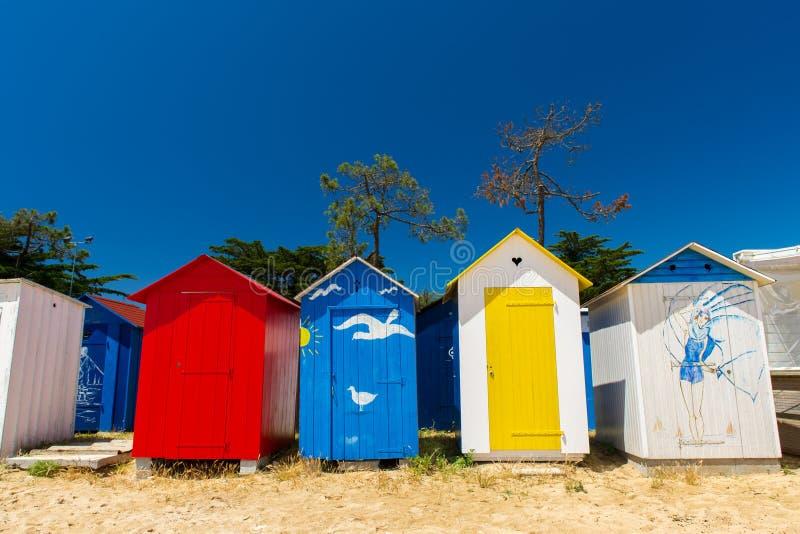 Console de Oleron das cabanas da praia imagem de stock royalty free