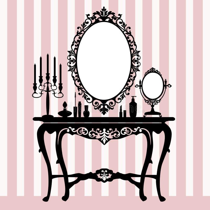 Console de pingamento retro, candelabros e espelho ilustração royalty free