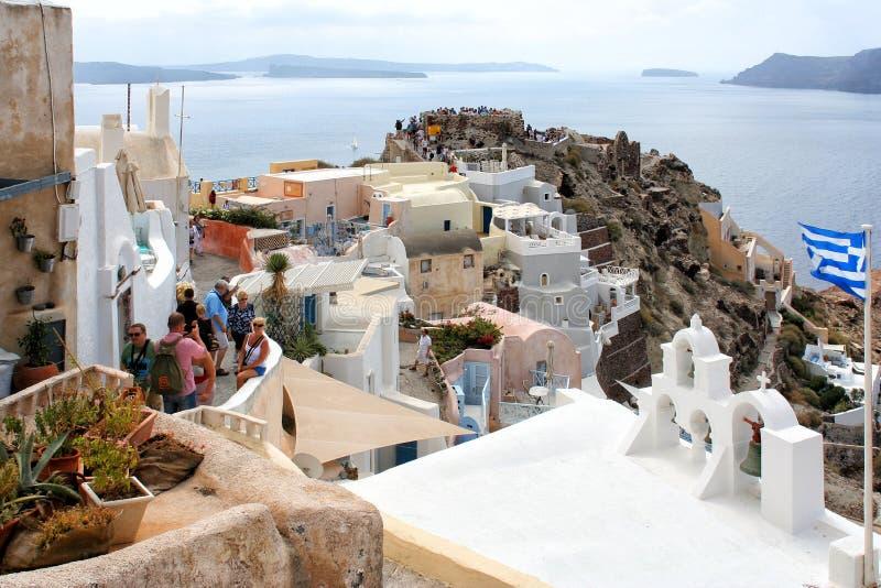 Console de Santorini, Greece Oia, cidade de Fira Casas e igrejas tradicionais e famosas sobre o Caldera imagens de stock royalty free