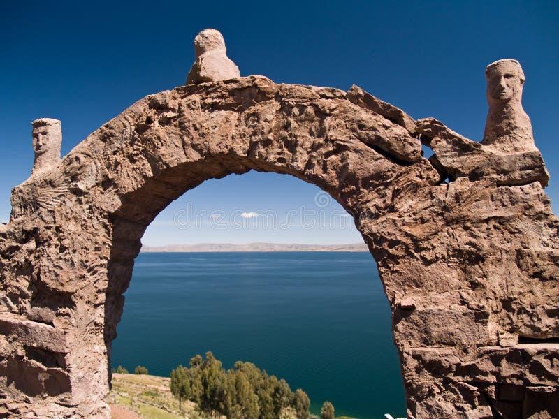 Console de Taquile no lago Titicaca imagens de stock royalty free