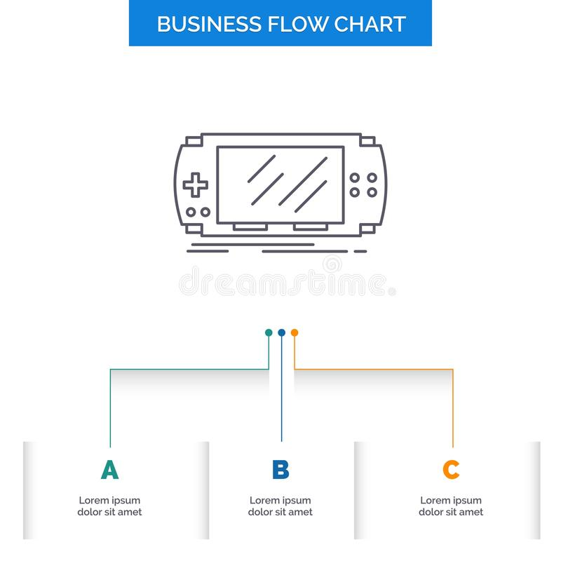 Console, device, game, gaming, psp Business Flow Chart Design with 3 Steps. Line Icon For Presentation Background Template Place. For text. Vector EPS10 vector illustration