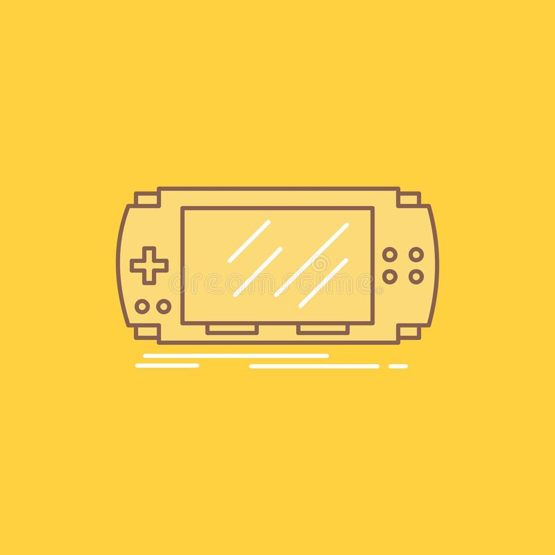 Console, device, game, gaming, psp Flat Line Filled Icon. Beautiful Logo button over yellow background for UI and UX, website or. Mobile application. Vector royalty free illustration