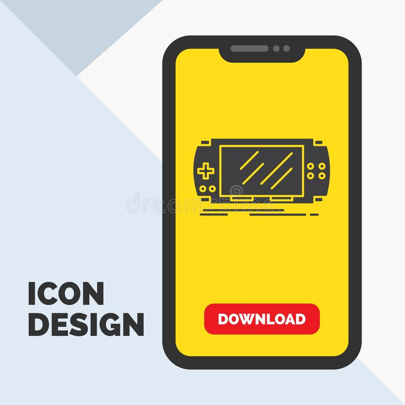 Console, device, game, gaming, psp Glyph Icon in Mobile for Download Page. Yellow Background. Vector EPS10 Abstract Template background vector illustration