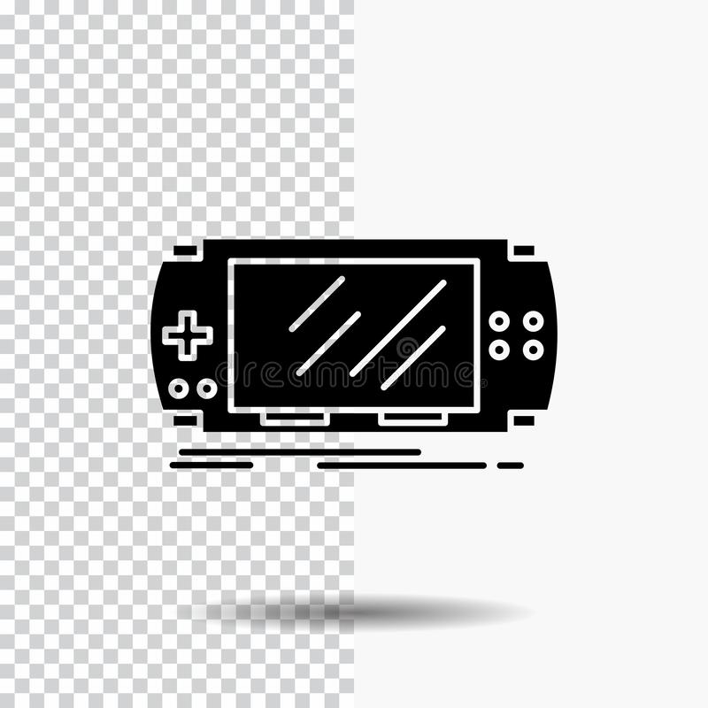Console, device, game, gaming, psp Glyph Icon on Transparent Background. Black Icon. Vector EPS10 Abstract Template background stock illustration