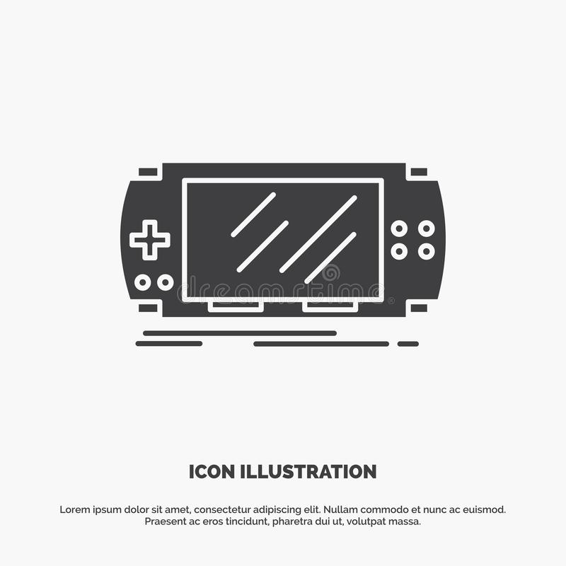 Console, device, game, gaming, psp Icon. glyph vector gray symbol for UI and UX, website or mobile application. Vector EPS10 Abstract Template background vector illustration