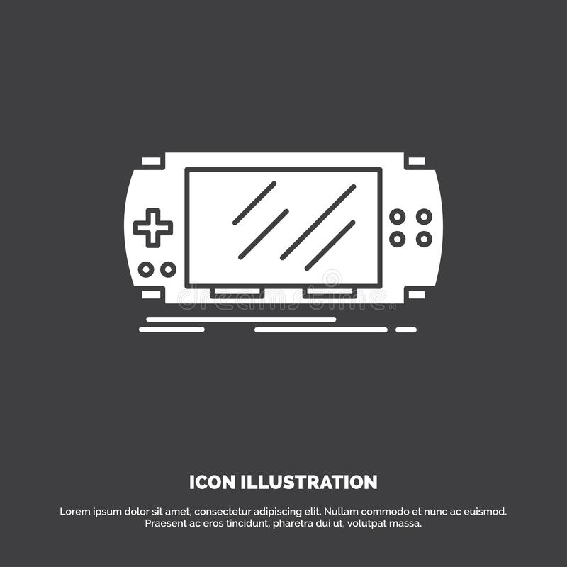 Console, device, game, gaming, psp Icon. glyph vector symbol for UI and UX, website or mobile application. Vector EPS10 Abstract Template background stock illustration