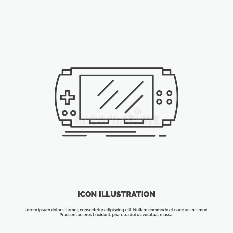 Console, device, game, gaming, psp Icon. Line vector gray symbol for UI and UX, website or mobile application. Vector EPS10 Abstract Template background vector illustration