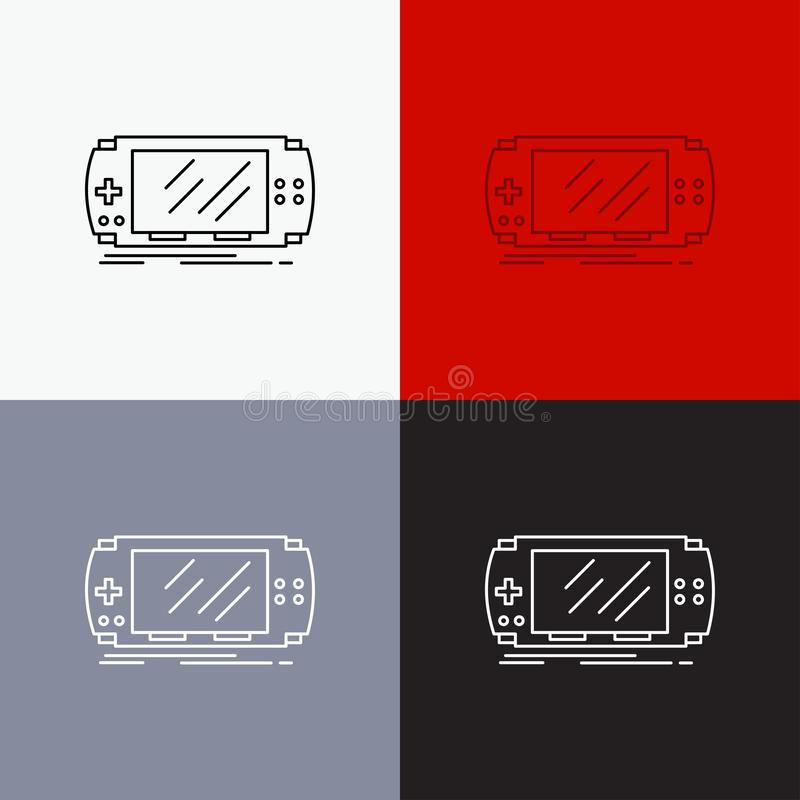 Console, device, game, gaming, psp Icon Over Various Background. Line style design, designed for web and app. Eps 10 vector. Illustration. Vector EPS10 Abstract stock illustration