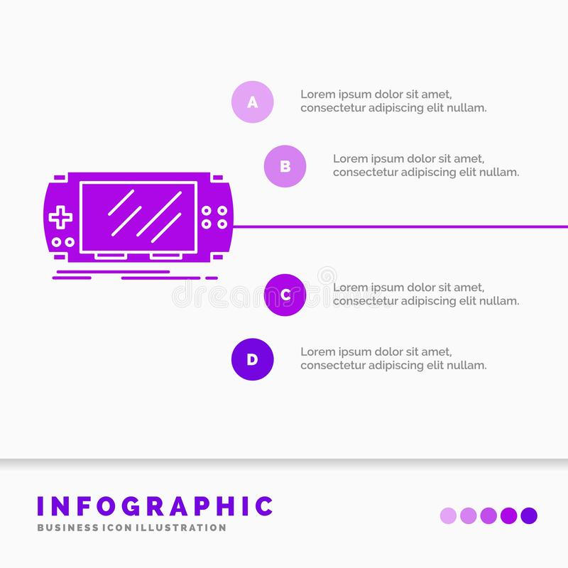 Console, device, game, gaming, psp Infographics Template for Website and Presentation. GLyph Purple icon infographic style vector. Illustration.. Vector EPS10 vector illustration