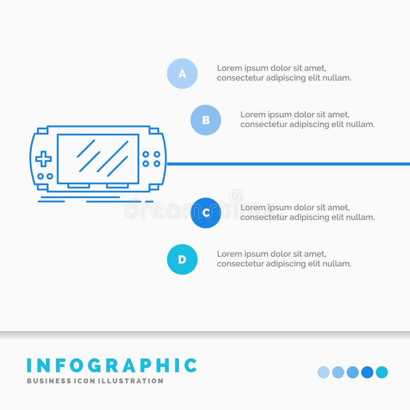 Console, device, game, gaming, psp Infographics Template for Website and Presentation. Line Blue icon infographic style vector. Illustration. Vector EPS10 royalty free illustration